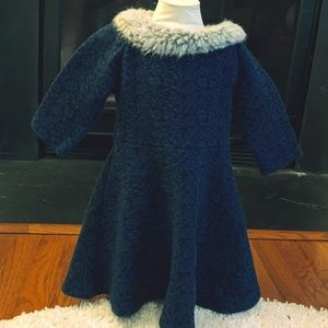 Warm blue dress with faux fur collar Girl's 5